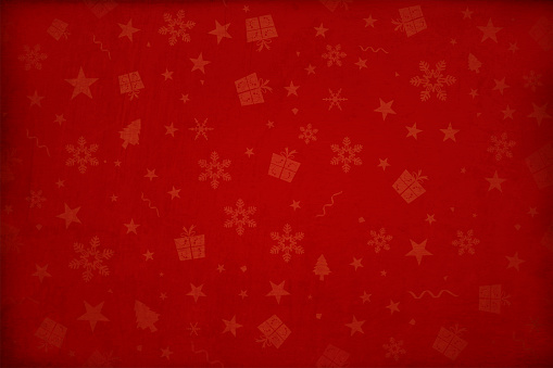 Horizontal vector illustration - Dark wine red colored gradient effect wallpaper texture all over pattern of Xmas elements Christmas backgrounds