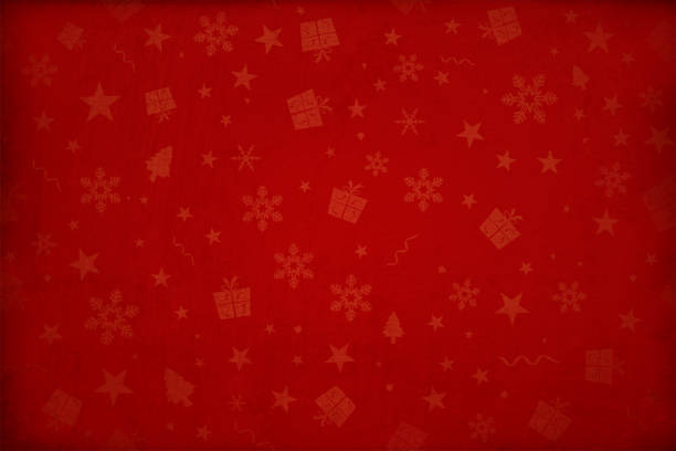 Horizontal vector illustration - Dark wine red colored gradient effect wallpaper texture all over pattern of Xmas elements Christmas backgrounds Dark maroon, deep red colored gradient paper textured effect wall texture Xmas vector starry background, wallpaper- horizontal. Different sized dull pale reddish colored gift boxes, snowflakes, Xmas trees, stars and swirls allover the background. Paper texture. Cracked, crumpled look. No text, No people. Copy space. Blotched surface. Stained look. Paint brush stroke wall effect. Scuff marks. Dark corners and bright center, centre, middle. Stars are faded and watermark. Can be used as Christmas, New Year party wallpaper, celebration, festive background, gift wrapping sheet, in stellar backdrop. christmas backgrounds stock illustrations