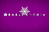 A purple coloured horizontal vector illustration of a christmas background with one big xmas snow flake and small objects like gift box, candy cane, xmas trees, snowflakes, baubles, stars and swirl arranged beautifully. Apt for Xmas, Christmas, New Year Day New year's eve, holiday, vacation, vacations  theme backgrounds, greeting card, poster and backdrop. Looks like an envelope sealed with xmas ornaments.