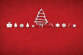 A bright red coloured horizontal vector illustration of a christmas background with small objects like gift box, candy cane, xmas trees, snowflakes, baubles, stars and swirl and a big tree made of geometrical shapes in the middle, arranged beautifully. Apt for Xmas, Christmas, New Year Day New year's eve, holiday, vacation, vacations  theme backgrounds, greeting card, poster and backdrop. Looks like an envelope sealed with xmas ornaments.