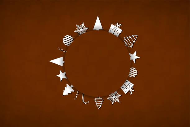 eine horizontale vektor-illustration eines kreativen dunkelbraunen farbe xmas hintergrund mit einem kreisförmigen patch und weiß gefärbten weihnachtsbäume und ornamente darüber angeordnet - weihnachtsschokolade stock-grafiken, -clipart, -cartoons und -symbole