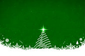 Horizontal vector illustration of a creative dark green color background with one creative single line free hand drawing  of white christmas tree with a bright shining star at top, and snow  and snowflakes at the bottom.  Xmas, Christmas, New Year Day New year's day and eve, holiday, vacation, vacations theme backgrounds. Dotted snow all over the green backdrop.