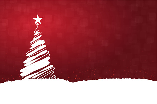 Horizontal vector illustration of a creative dark red maroon wine color background with one creative white christmas tree with a bright shining star at top, snow all over the ground and on tree
