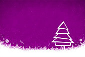 Horizontal vector illustration of a creative mauve color background with one creative  white outline christmas tree composed of multiple geometric figures, and snow  and snowflakes, gift box, baubles, xmas ornaments at the bottom.  Xmas, Christmas, New Year Day New year's day and eve, holiday, vacation, vacations theme backgrounds. Dotted snow all over the backdrop.