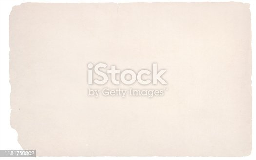 A horizontal vector illustration of a plain blank beige colored torn paper.Parchment style old ripped background