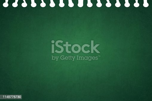 A horizontal vector illustration of a plain blank dark green colored blotched ripped page from a spiral notepad