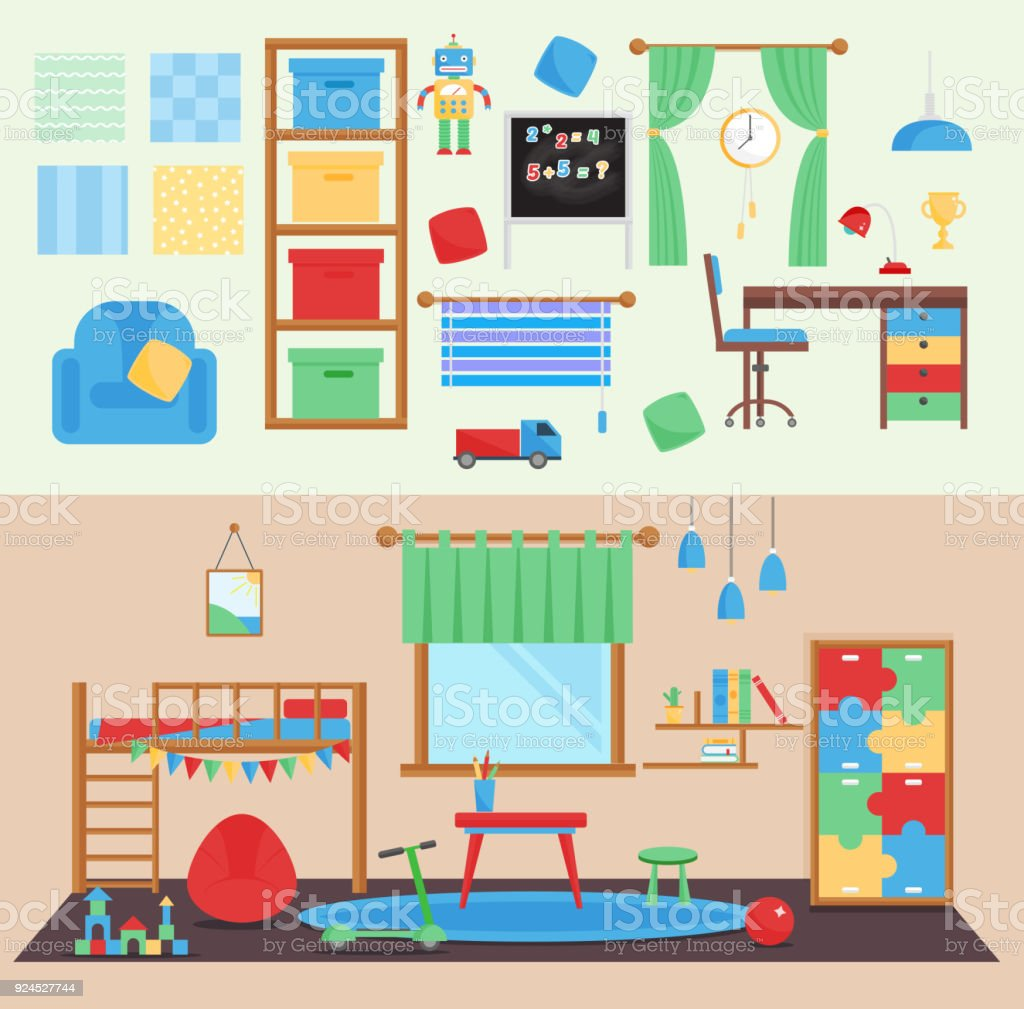Horizontal View Cozy Baby Room Decor Vector Children Bedroom Interior  Illustration With Furniture And Toys Nursery Childhood Interior Boy  Babyroom ...