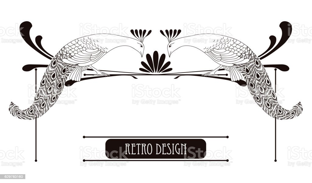 Horizontal vignette with peacock in Art Nouveau or Modern style.