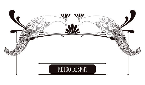 Horizontal vignette with peacock in Art Nouveau or Modern style. vector art illustration