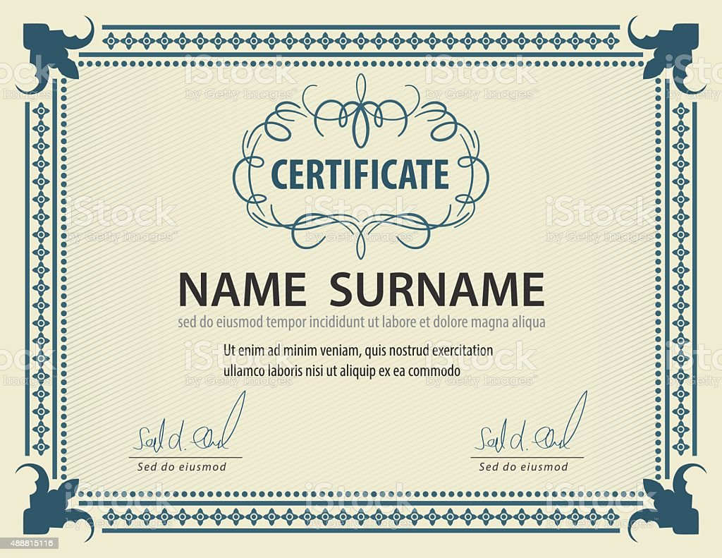 Horizontal Vintage Certificate Templatediplomaletter Size Lay Stock