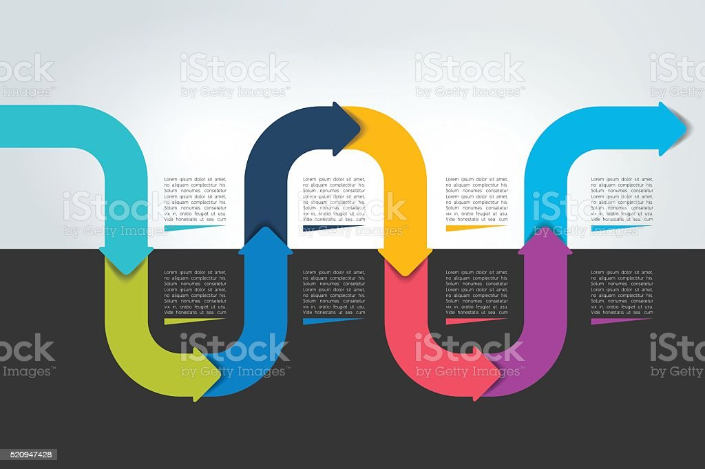 Horizontal Wave Infographic Timeline Web Template For Presentation - Timeline website template