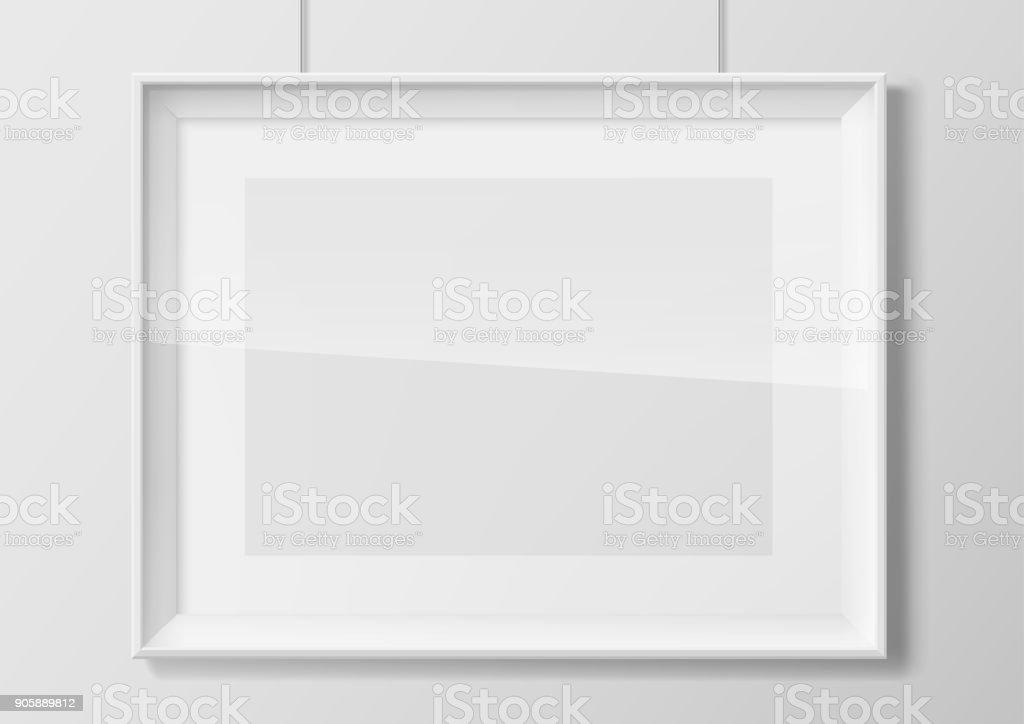Horizontal white photo frame with glass vector art illustration