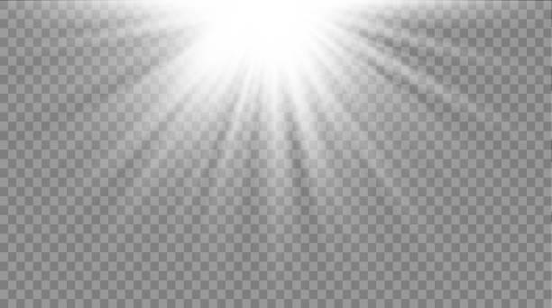 illustrazioni stock, clip art, cartoni animati e icone di tendenza di horizontal white rays. - flare
