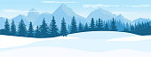 Horizontal Winter Landscape. Mountains fir tree forest in distant. Flat and solid color vector Illustration.