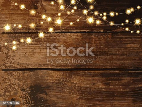 Vector Illustration of Rustic yet elegant blank invitation design template with  string lights. Blank area for custom text. Easy layers for customizing. Use for garden party invitations, outdoor weddings, receptions. Barn party, ambience, country setting, night time setting, string lights, night buffet, tables, chairs, white linen.  Music, string quartet, dancing, dance floor. Glowing and fancy.