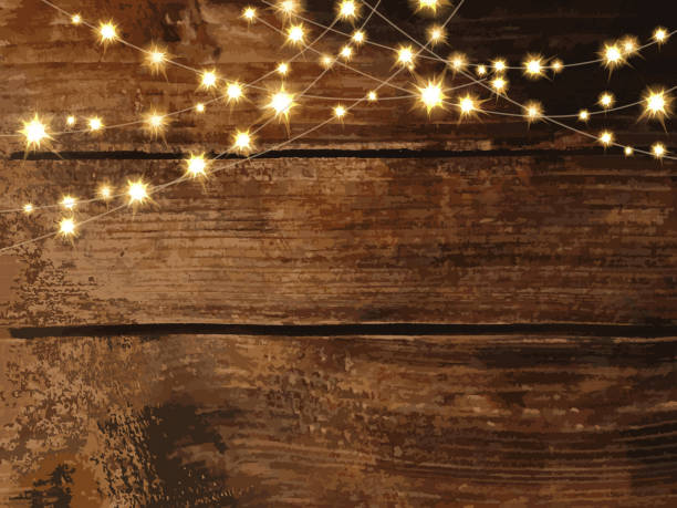 horizontal wooden background with string lights and jars - light strings stock illustrations, clip art, cartoons, & icons