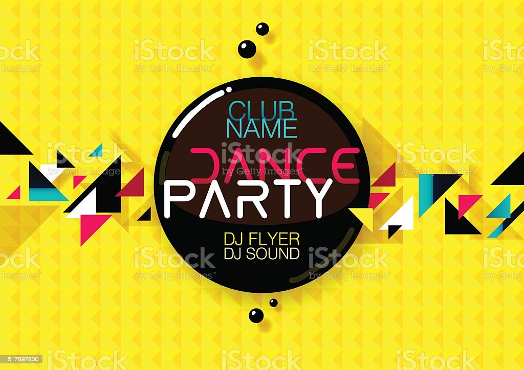 Horizontal yellow music party background with colorful graphic elements. vector art illustration