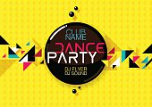 Horizontal yellow music party background with colorful graphic elements.
