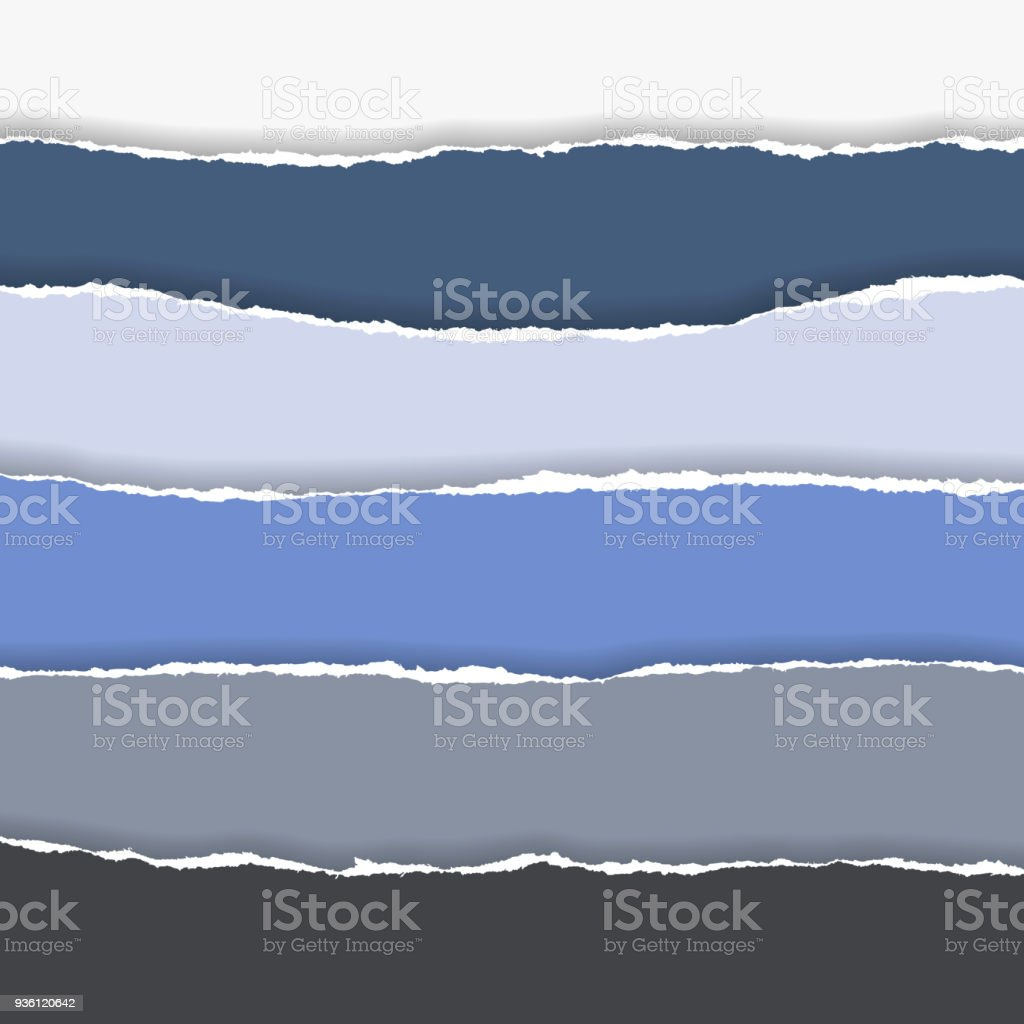 horizontally multicolored torn edges of paper with shadow, isolated vector on  background vector art illustration