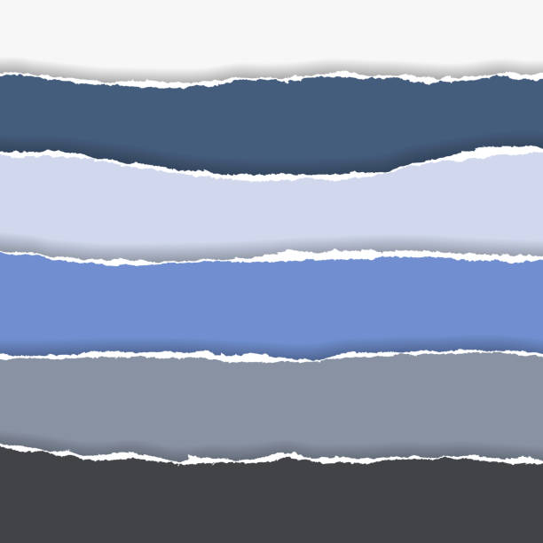 horizontally multicolored torn edges of paper with shadow, isolated vector on  background horizontally multicolored torn edges of paper with shadow, isolated vector on  background cut or torn paper stock illustrations