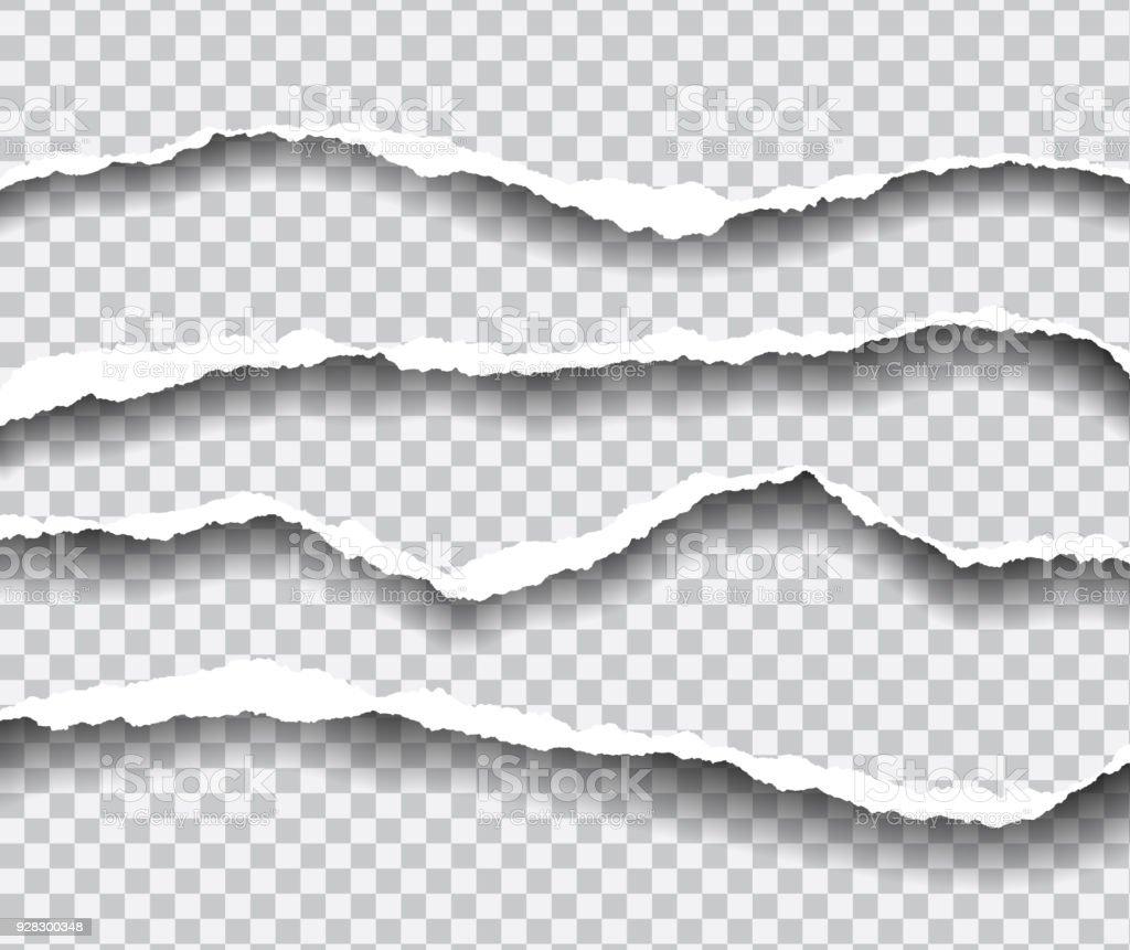 horizontalement déchiré les bords du papier avec shadow, vecteur isolé sur un fond transparent - clipart vectoriel de Abstrait libre de droits