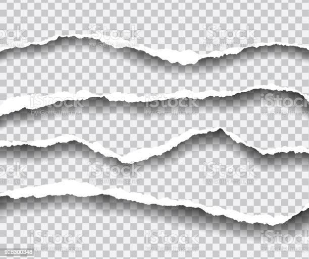 Horizontalement Déchiré Les Bords Du Papier Avec Shadow Vecteur Isolé Sur Un Fond Transparent Vecteurs libres de droits et plus d'images vectorielles de Abstrait