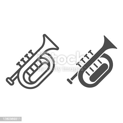 Horn line and solid icon, Oktoberfest concept, wind musical instrument sign on white background, French horn icon in outline style for mobile concept and web design. Vector graphics