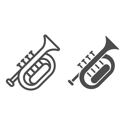 Horn line and solid icon, Oktoberfest concept, wind musical instrument sign on white background, French horn icon in outline style for mobile concept and web design. Vector graphics.