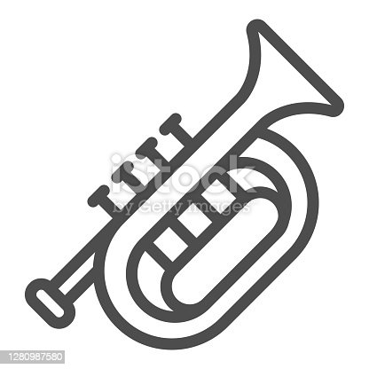 istock Horn line icon, Oktoberfest concept, wind musical instrument sign on white background, French horn icon in outline style for mobile concept and web design. Vector graphics. 1280987580