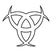 Horn Odin Triple horn of Odin icon black color outline vector illustration flat style image