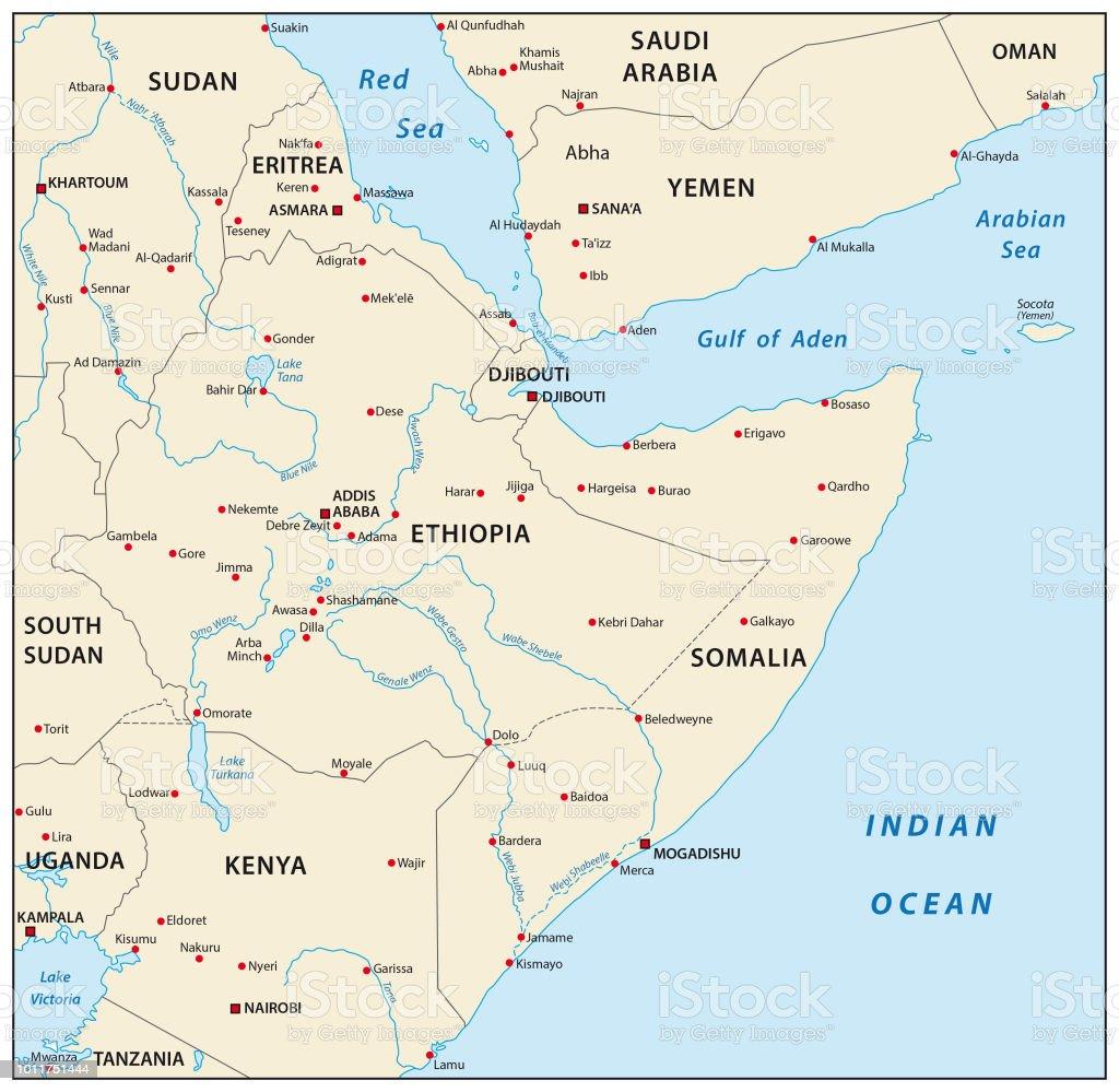 Cuerno De Africa Mapa.Ilustracion De Cuerno De Mapa De Africa Y Mas Vectores Libres De Derechos De Aden