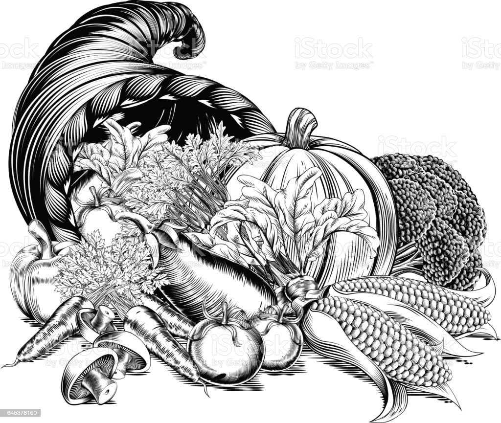 Horn Of Plenty Cornucopia Woodcut Stock Illustration ...