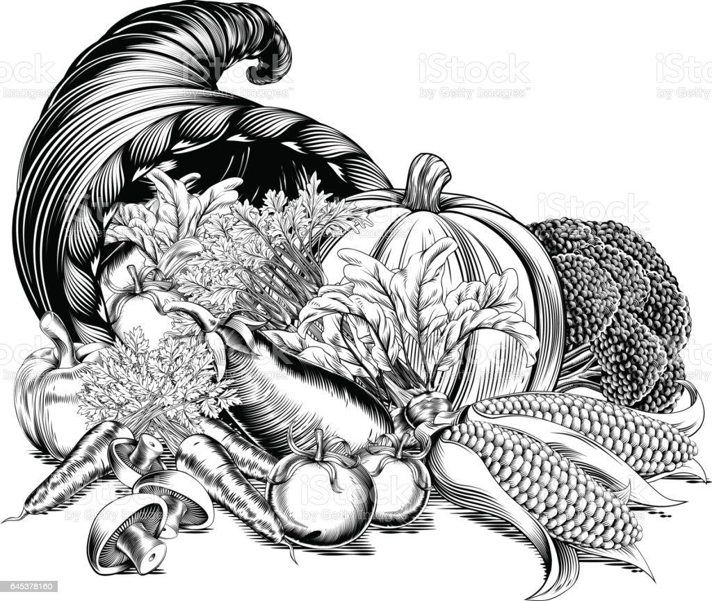 Horn of Plenty Cornucopia Woodcut vector art illustration