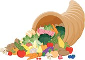 A horn of plenty filled with fruits and veggies. No gradients were used when creating this illustration.