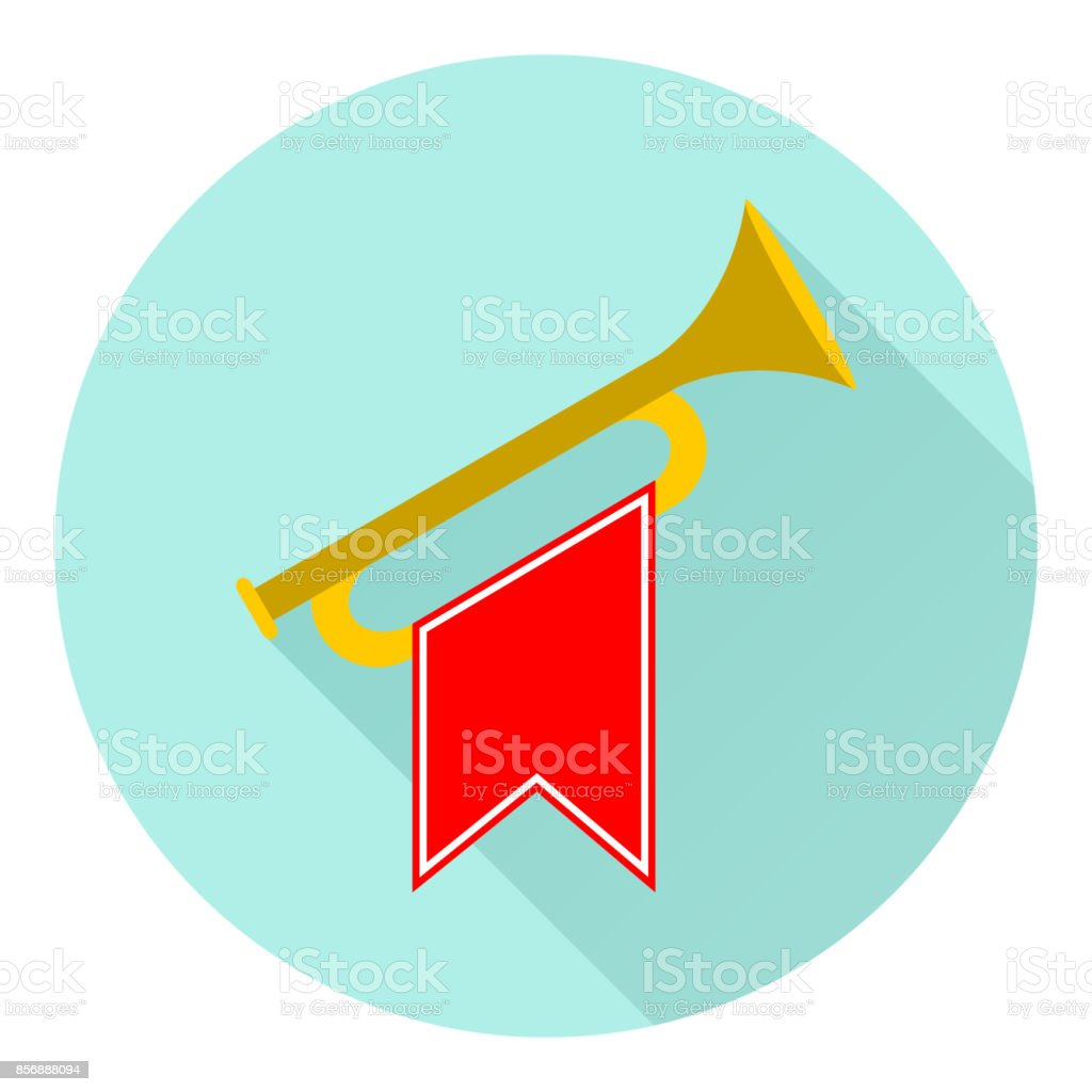 Horn, trumpet icon vector art illustration