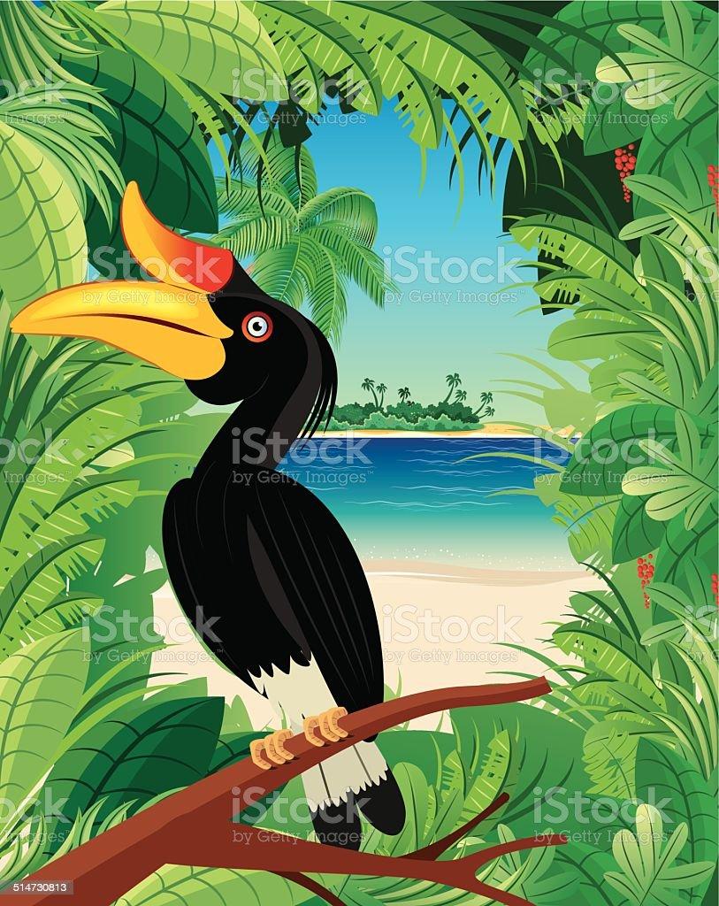 Hornbill and Tropical rainforest vector art illustration