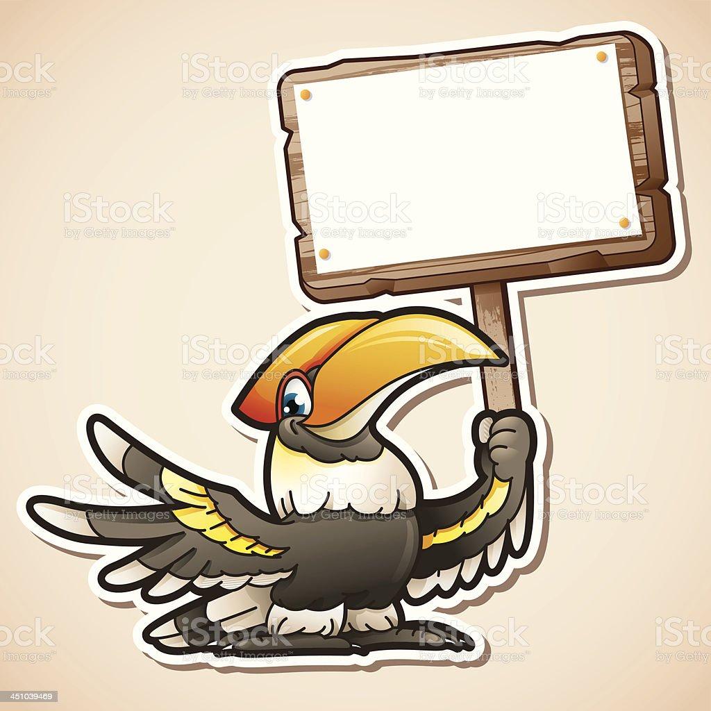 Hornbill holding sign vector art illustration