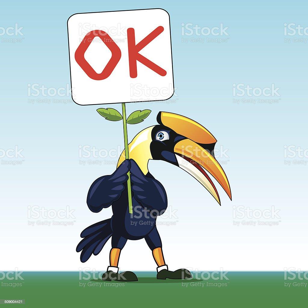 hornbill vector art illustration