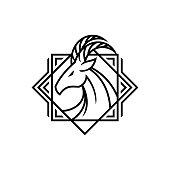 Horned deer goat head elegant outline emblem