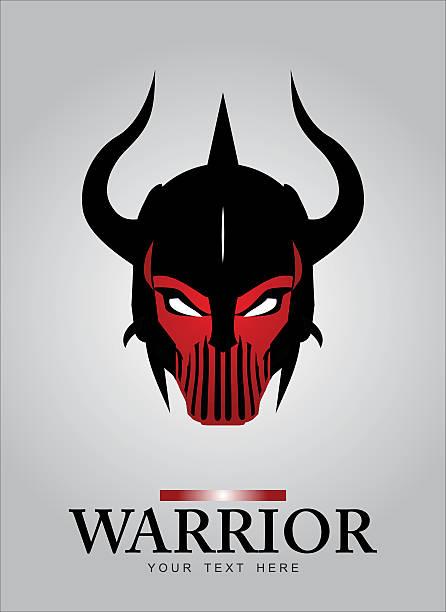 illustrazioni stock, clip art, cartoni animati e icone di tendenza di cornuto testa di mascotte di un vero guerriero. nero cornuto guerriero. - box name