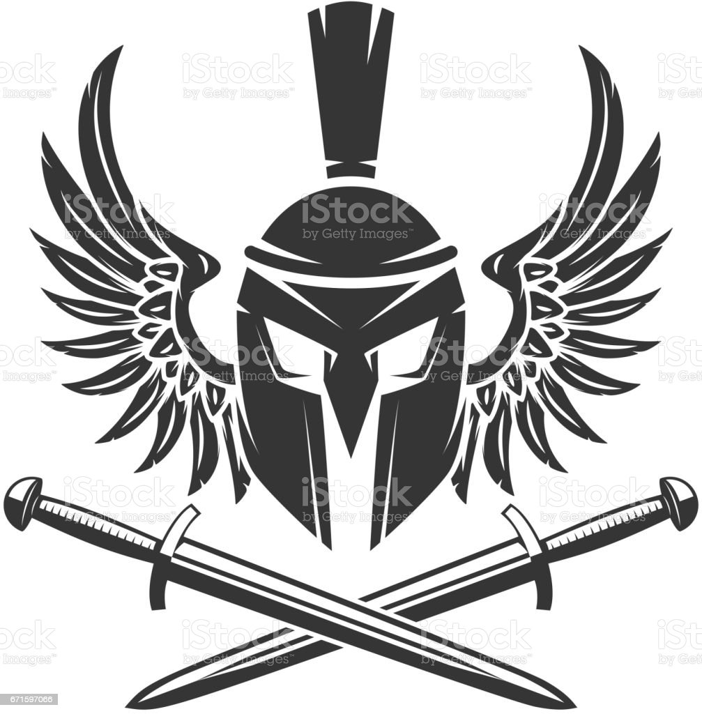 Gehörnter Helm Mit Gekreuzten Schwertern Und Flügel Isoliert Auf ...