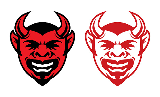 Horned laughing devil face icon