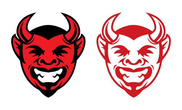 Horned laughing devil head icon Laughing devil face icon. Horned red devil vector mascot seven deadly sins stock illustrations