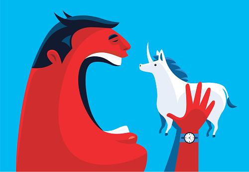 horned man going to eat unicorn