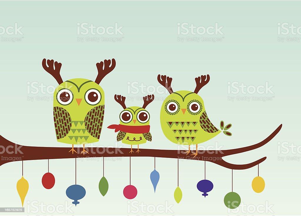 Horned Owl Familie Hooliday Grüße Stock Vektor Art und mehr Bilder ...