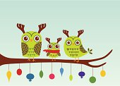 Owl family wearing reindeer antlers wishing you Happy Holidays.  Built at 5 x 7 so perfect for a Holiday Card