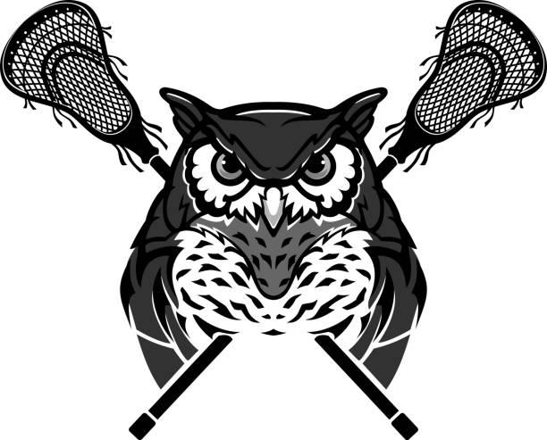 Horned Owl Lacrosse vector art illustration