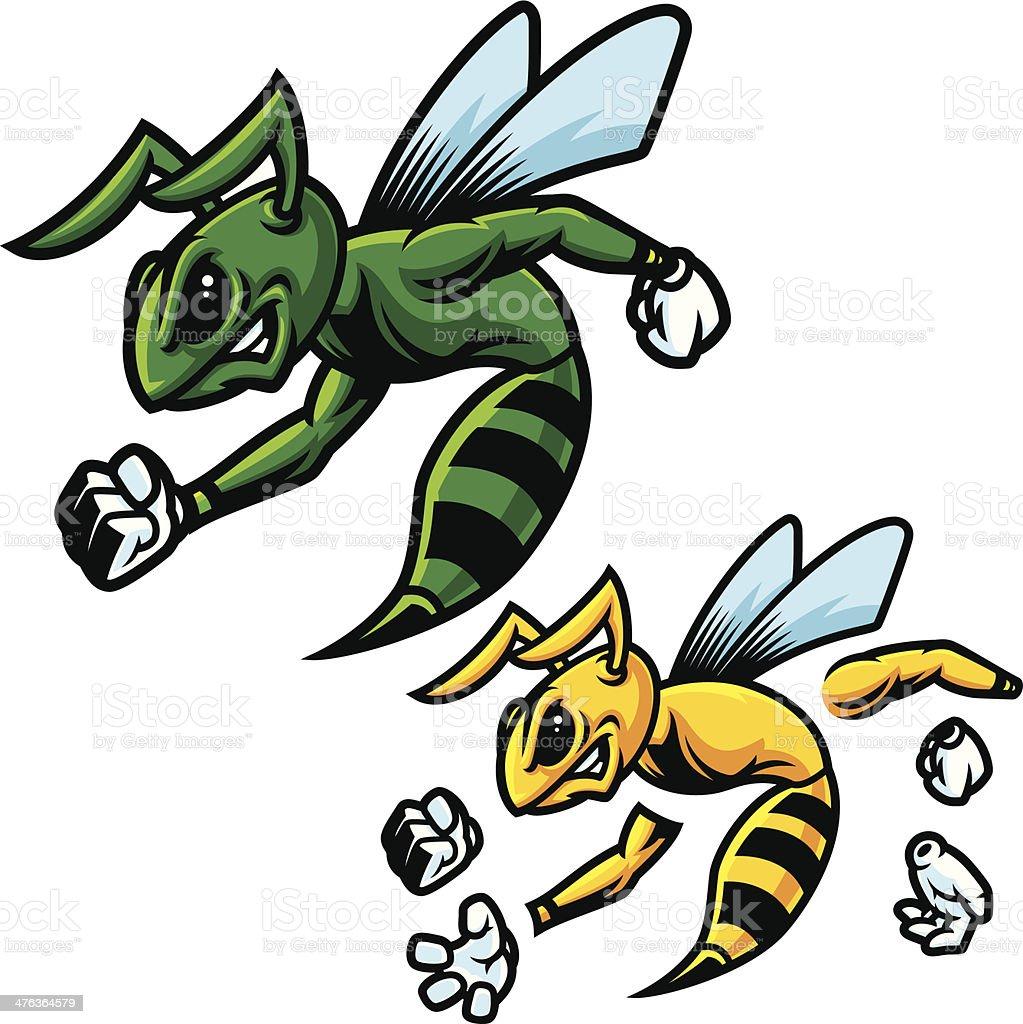 Hornet Green Mascot vector art illustration