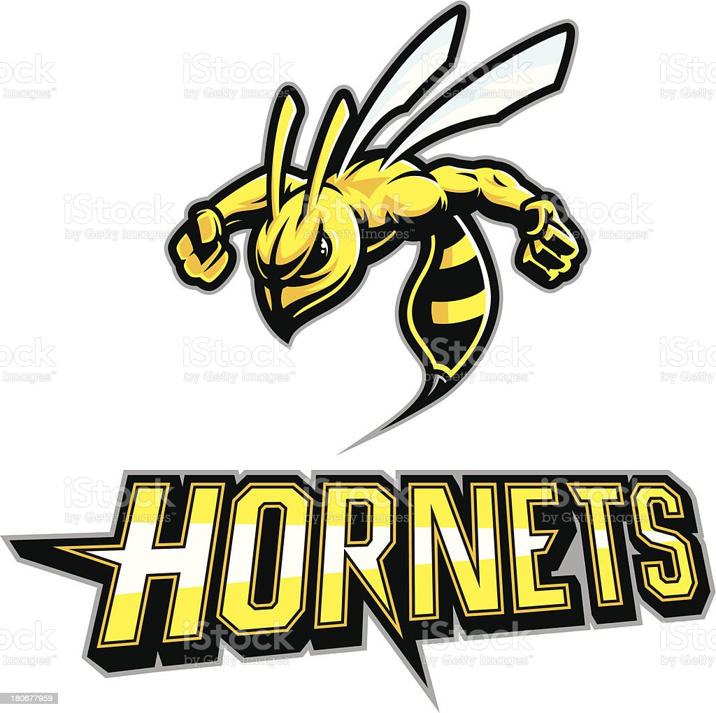 Hornet Mascot Arms out vector art illustration