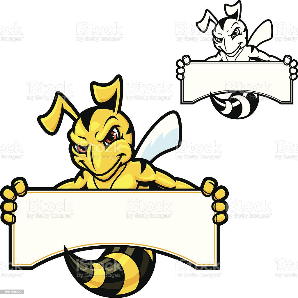 Hornet Mascot Sign vector art illustration